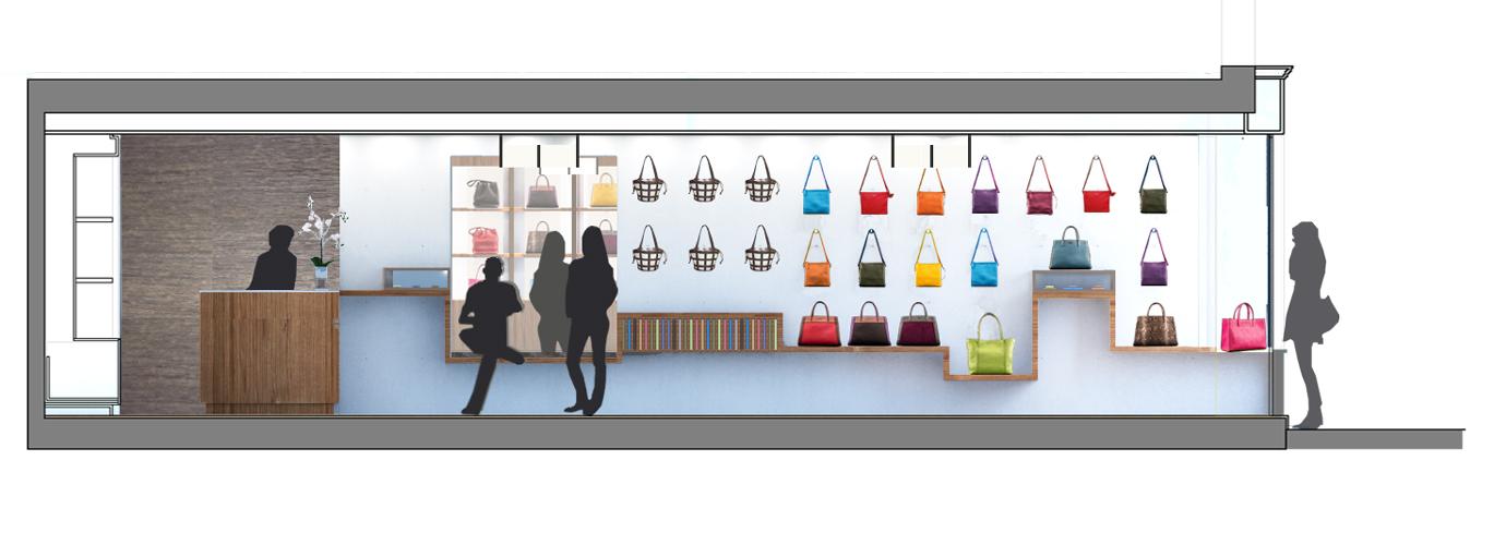 Sección longitudinal - Mueble Bolsas & Accesorios - Propuesta 1