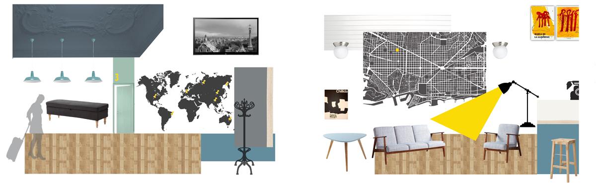 Cuadro de materiales - recepción / pasillo & sala común