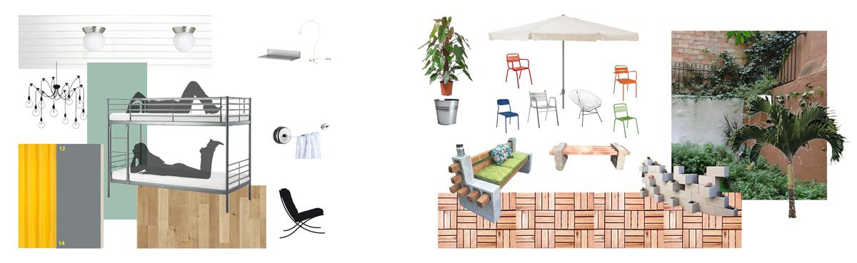 Cuadro de materiales - habitación & patio